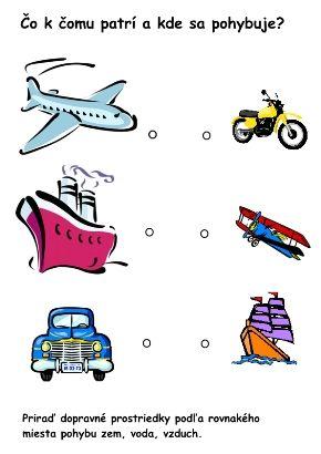 Pracovný list doprava - čo k čomu patrí a kde pohybuje