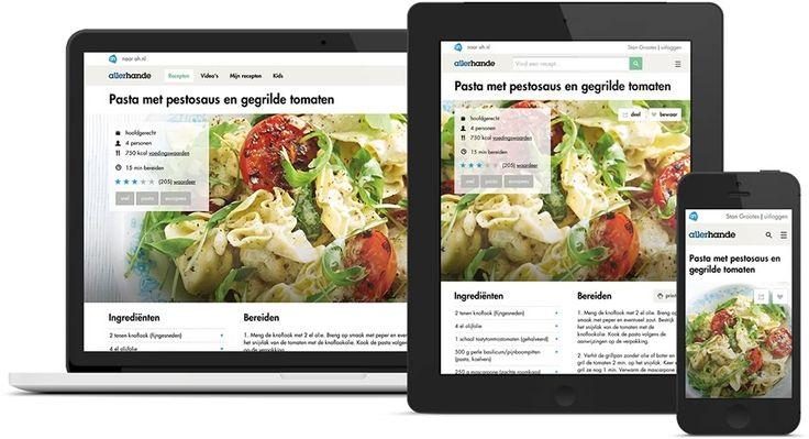 Allerhande recepten - Albert Heijn recepten zoeken op 'snel', 'budget', 'slank' etc website en app