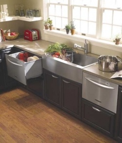 Nice kitchen layout.  Have a single drawer dishwasher on one side of sink, small refrigerator on other side.