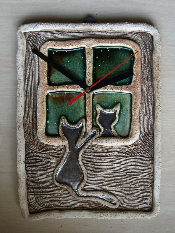 Ceramiczny zegar z kotem/ Ceramic clock with cat