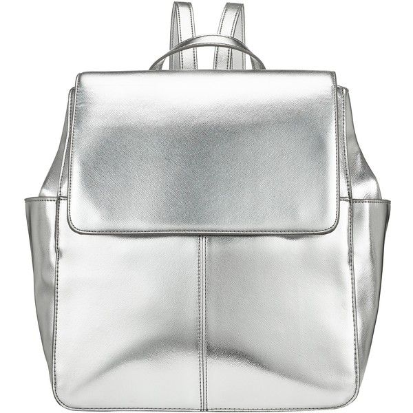 Kin by John Lewis Gia Backpack , Silver found on Polyvore featuring bags, backpacks, accessories, bolsos, fillers, silver, white bags, flap backpack, silver bag y handle bag