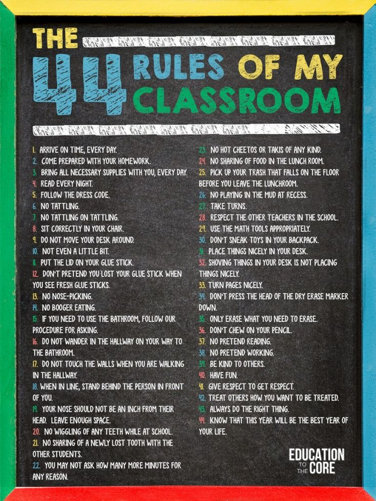 The 44 Rules of My Classroom - Education to the Core