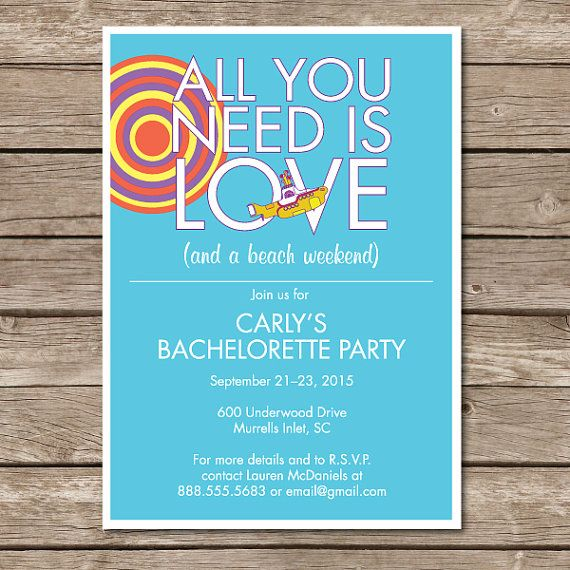 Beatles Bachelorette Invitation Engagement by WhatKnottsCreations