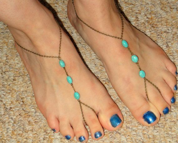 Bronze turquoise barefoot sandals Turquoise barefoot by GemmaJolee