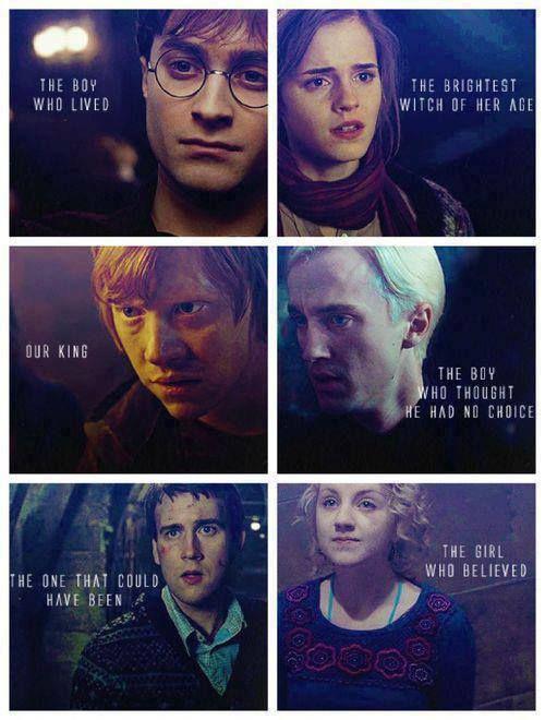 Harry Potter, Hermione Granger, Ron Weasley, Draco Malfoy,Neville Longbottom, Luna Lovegood