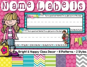 Name labels {Bright & Happy}Here are bright name labels for your students. Print, write your students names on the labels and laminate for durability.Name labels are available in 8 different patterns and two styles (plain or with Melonheadz clipart kids).Perfect for back to school - just print and cut!More Happy & Bright decor: Name labels {Bright & Happy}Calendar Classroom Decor (Happy and Bright)Classroom RulesClassroom Jobs (Editable)Behavior Clip ChartClass Numbers 1 - 30WBT ...