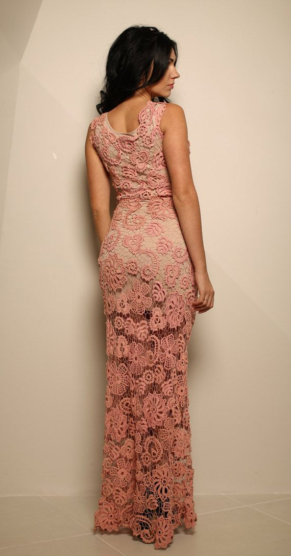 Pink Crochet Evening Dress Palmira Bohemian Dress
