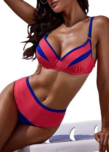 Contrast Trim Underwire High Waist Bikini Set | modlily.com – USD $27.27