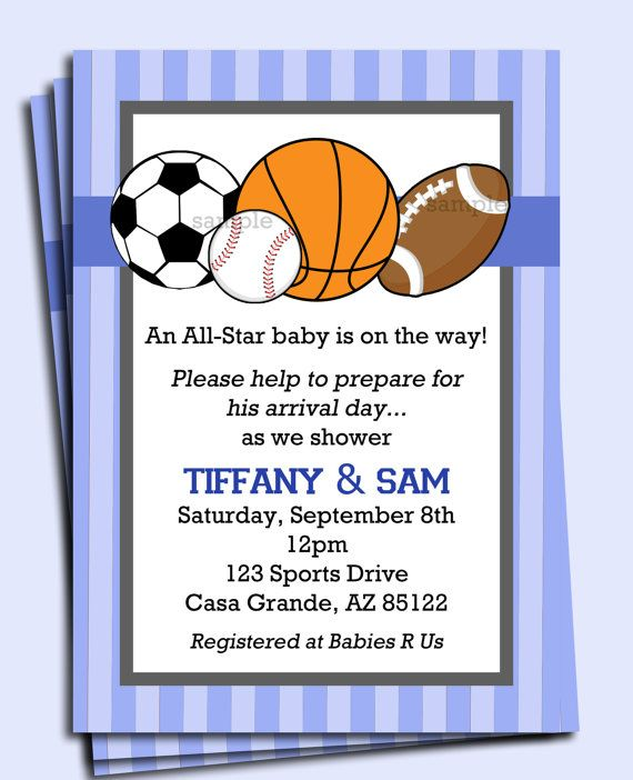 All Star Sports Invitation Printable Or Printed With FREE SHIPPING