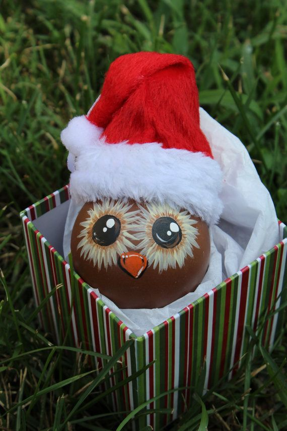 Up-cycledhand painted light bulb owl ornament by DesignsbyJodyRife