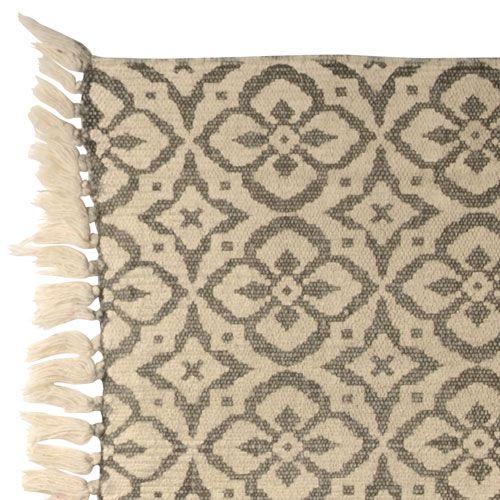 Tapis en coton rectangulaire fond beige imprimés gris