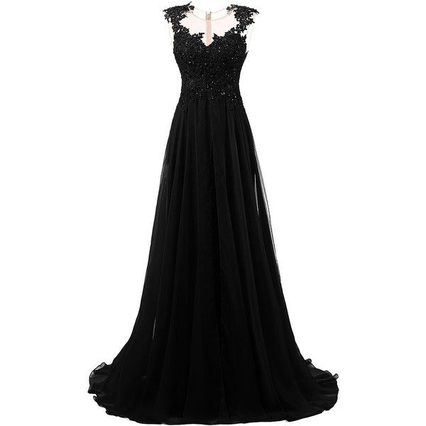 Dresstells Long Prom Dress Scoop Wedding Dress Beadings Evening Gown ($100) ❤ liked on Polyvore featuring dresses, gowns, prom ball gowns, beaded gown, long beaded dress, prom dresses and long prom dresses