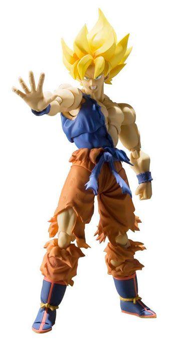 Figura Son Goku Super Saiyan Super Warrior Awakening, 16 cm. Dragon Ball Resurrection. Bandai. S.H. Figuarts  El fabricante Bandai junto a Tamashii Nations nos presenta esta figura de Son Goku en el momento de su combate contra Freezer cuando despierta la fuerza del Super Saiyan en Goku y que pertenece a la colección S. H Figurarts
