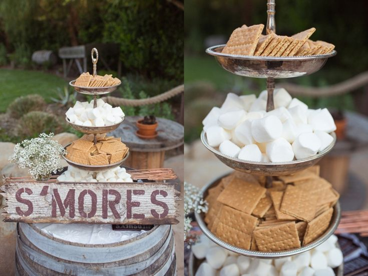 S'MORES at the reception of a wedding. Have a bonfire as a alternative thing for guest to do besides dance, and s'mores are the perfect desert alternative to a cake! plus it makes for a fun detail photo!