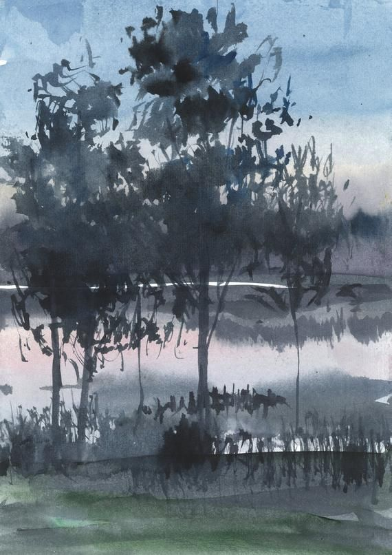 Watercolor Lake Original U 2020 R Grafika