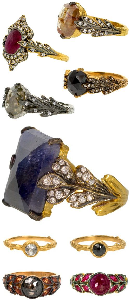 Alternative wedding and engagement ring designs with creative metals, colored stones and rustic textures, from jeweler Cathy Waterman (via TwistOnline.com).