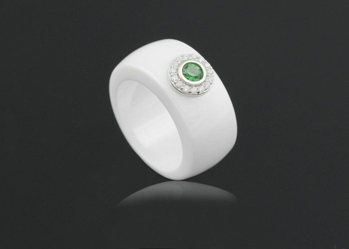 lady wide white ceramic silver ring green cz ultra wear resistant