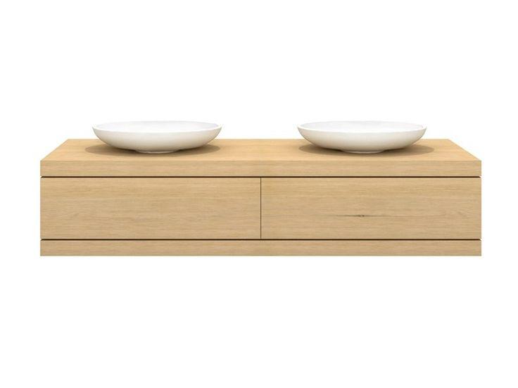 Mueble bajo lavabo doble de madera maciza con cajones Colección Oak Cadence by Ethnicraft