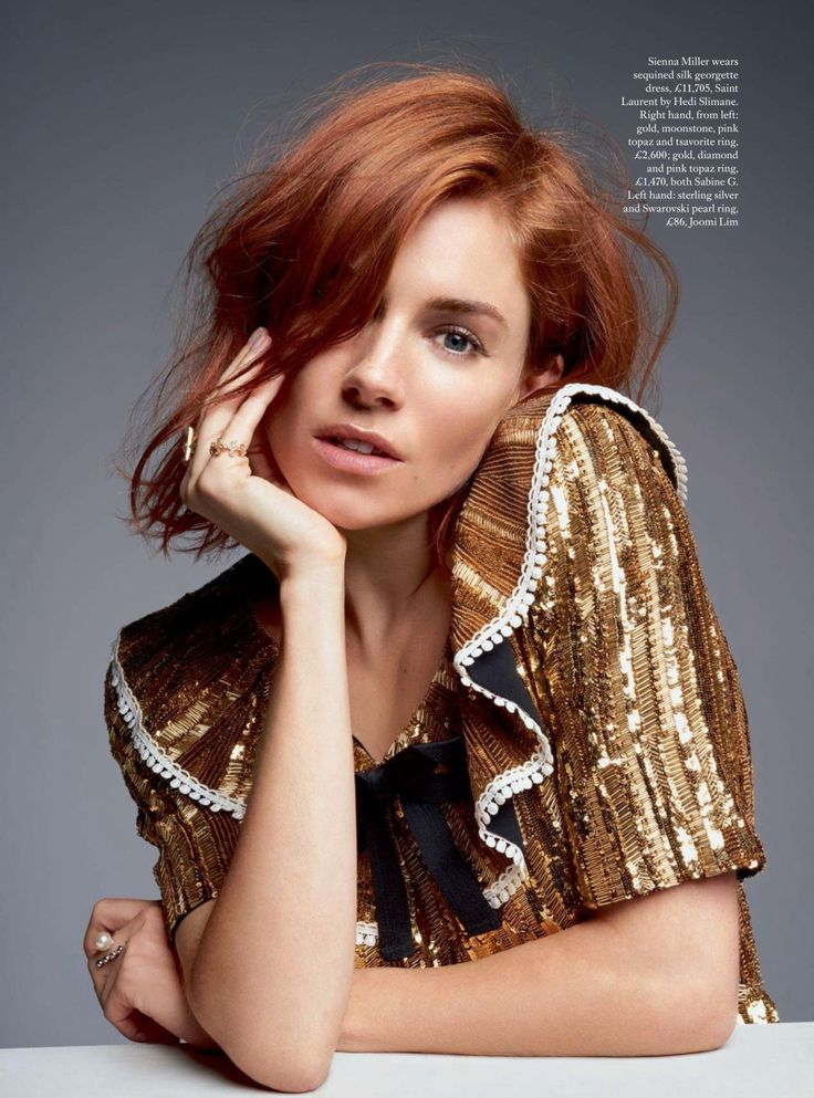 Bring on the bling for red heads: Sienna Miller for Harper's Bazaar UK 2015