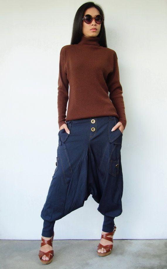 NO.95    Navy Blue Cotton Jersey Casual Harem Pants Unique Pockets Drop-Crotch Trousers