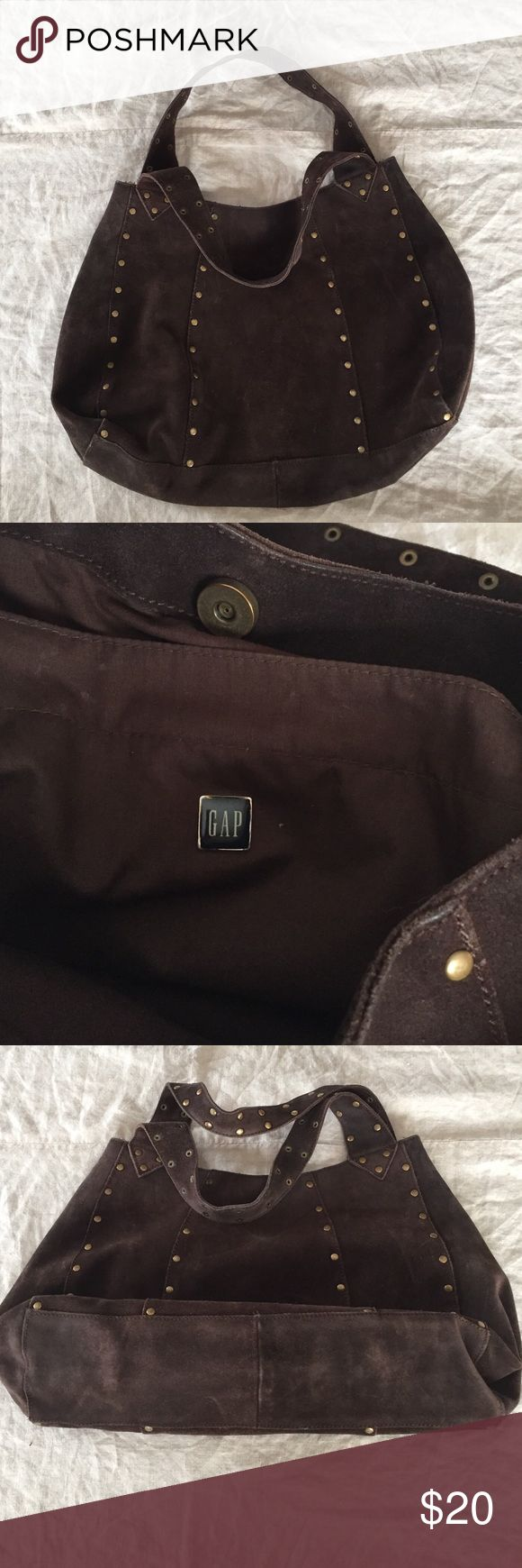 """The Gap brown suede shoulder bag. Used, brown suede Gap shoulder bag. Magnetic snap closure. Shoulder straps approx. 20"""".  Brass accents throughout bag.  Clean and odorless lining. No trades. GAP Bags Shoulder Bags"""