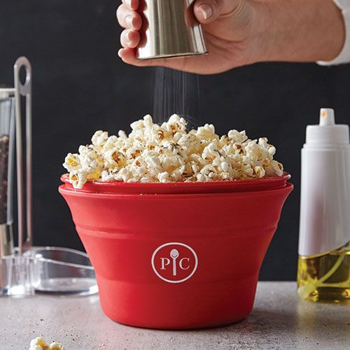 Microwave Popcorn Maker - The Microwave Popcorn Maker gives you the convenience of a bag of microwaveable popcorn without the extra cost and chemicals. Just fill the cup with popcorn kernels, add oil or butter if you want, and put it in the microwave—you'll have a healthy snack in minutes. The best part, it's dishwasher safe and collapses for easy storage!