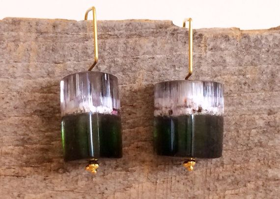 Watermelon tourmaline crystal and solid gold earrings by YUMILUV, $240.00