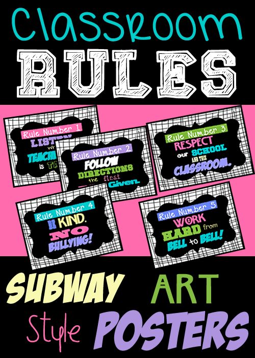 Classroom Rules Subway Art Posters