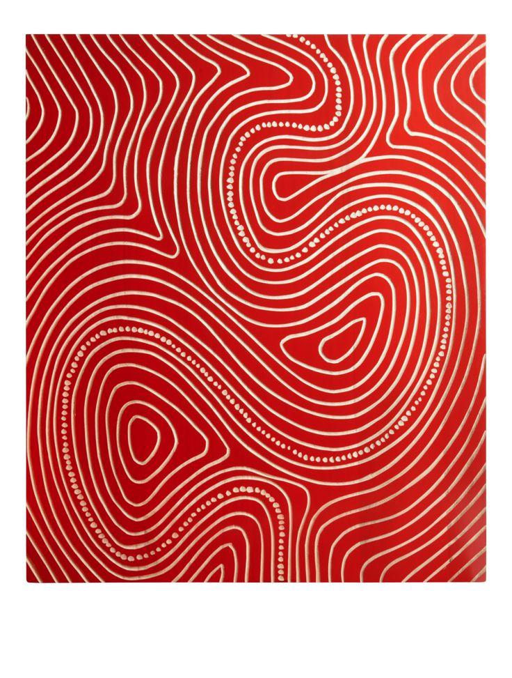 Imura - Décoration murale en bois rouge et blanche - Habitat