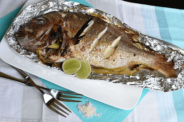 Baked Whole Snapper with Thai Green Sauce - Weber