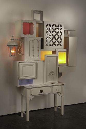 """""""mystery house"""" by Thomas Wold. Sculptural furniture made from 100% repurposed materials."""