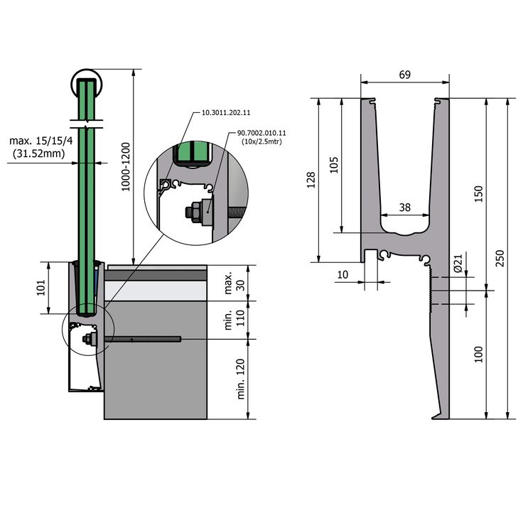 Side Mounted Glazing Channel (Y Shaped Profile)