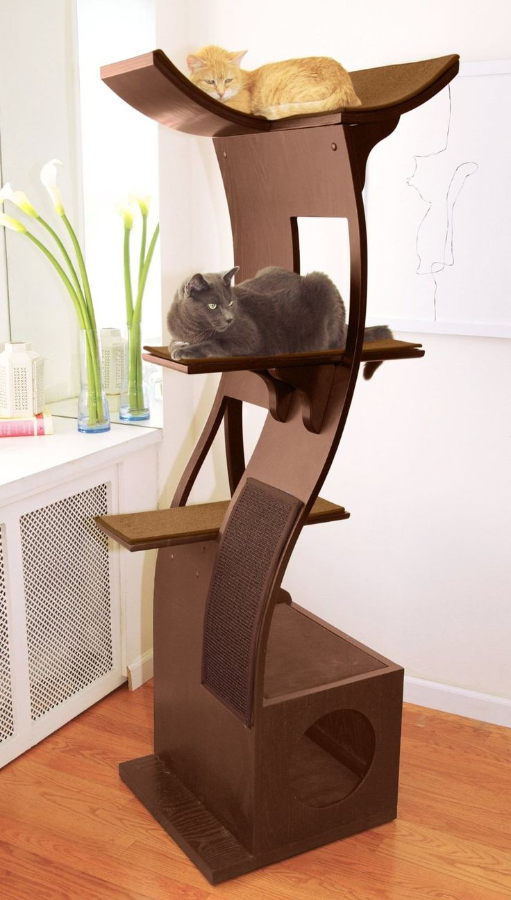 Amazon.com : The Refined Feline Lotus Cat Tower in Mahogany : Cat Beds : Pet Supplies