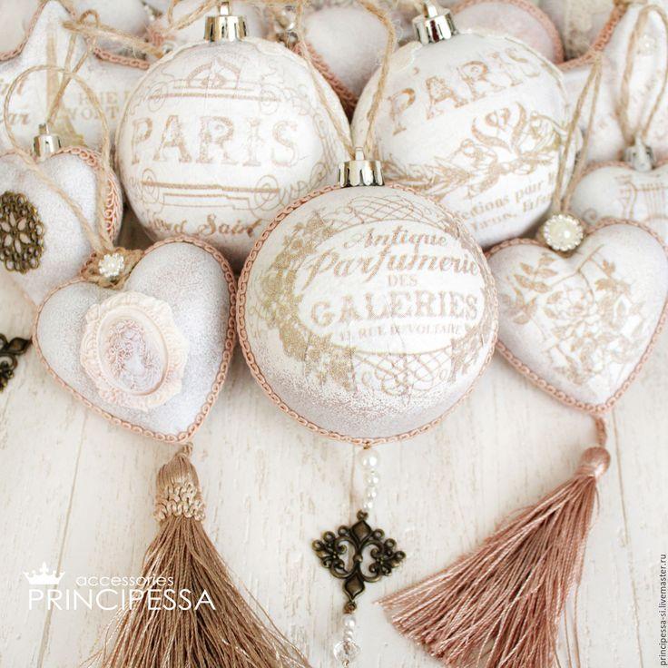 """Купить """"Париж"""" новогодние шары - бежевый, новогодние шары, новогодние игрушки, аксессуары, Аксессуары handmade"""