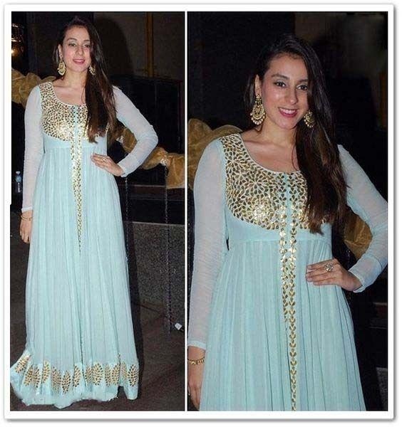 FatimaBi Plus size Fashion Ethnic Designer Anarkali Kameez Sky Blue Partywear Dr #FatimaBi #AnarkaliKameez