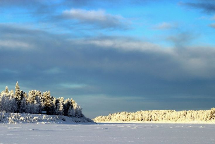 Wintry Tornio River Valley in Finnish Lapland