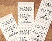 18 adesivi Handmade with love con cuoricino e sfondo a pois
