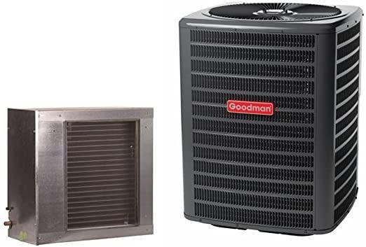 Goodman 2 5 Ton 14 Seer Condenser With Horizontal Slab Coil Gsx140311 Cscf3642n6 3 8 X 3 4 X 50 Line Set In 2020 Cool Walls Amazon Tools Air Conditioner Btu