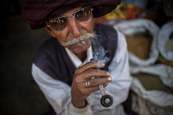 smoker in a village in rann of kutch