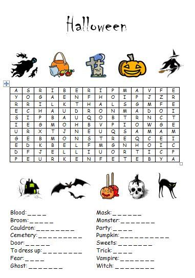 Learn the French Halloween words then find them in this