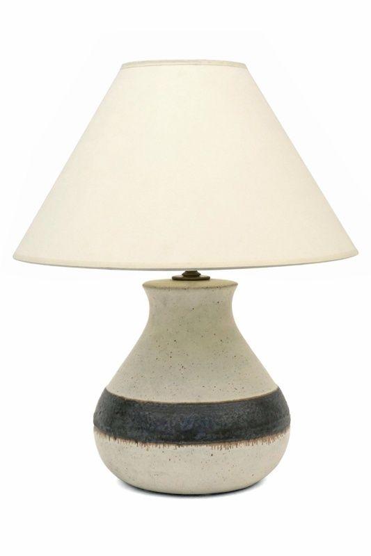 White Ceramic Lamp Base With Black Stripe By Guido Gambone. Italy, Circa  1950