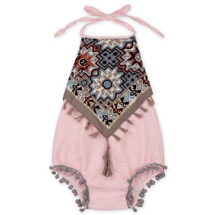 Vintage Baby Girls Bodysuit New Halter Tassel Baby Girls Clothes Rustic Summer Baby Girls Playsuit Tassel Toddler Girls Clothing