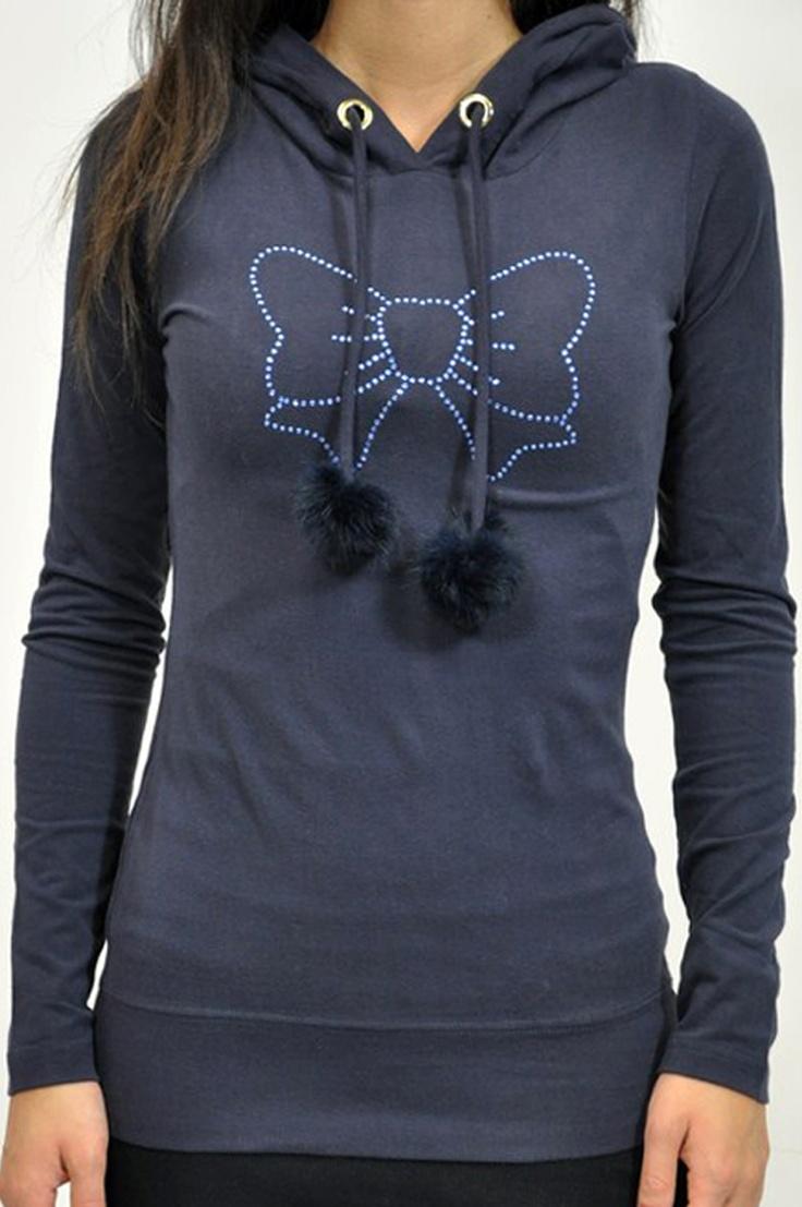 Fix Design, t-shirt manica lunga donna blu, con cappuccio e pon-pon
