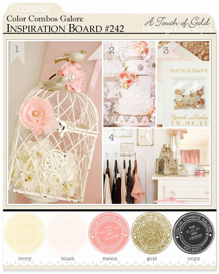 Color Inspiration Board #242: ivory - blush - melon - gold - onyx ; Color Combo Challenge #242; #colorcombosgalore ; #ccg242