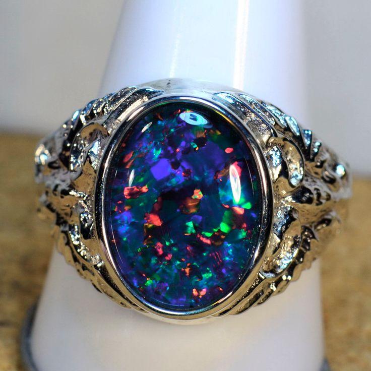 Big heavy mans solid 925 silver genuine australian opal