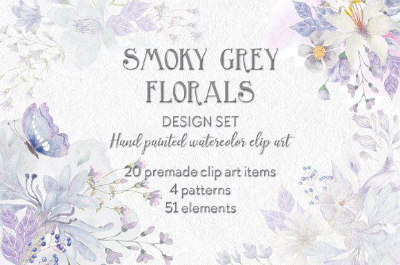 Smoky grey watercolor design set by Lolly's Lane Shoppe on @creativemarket