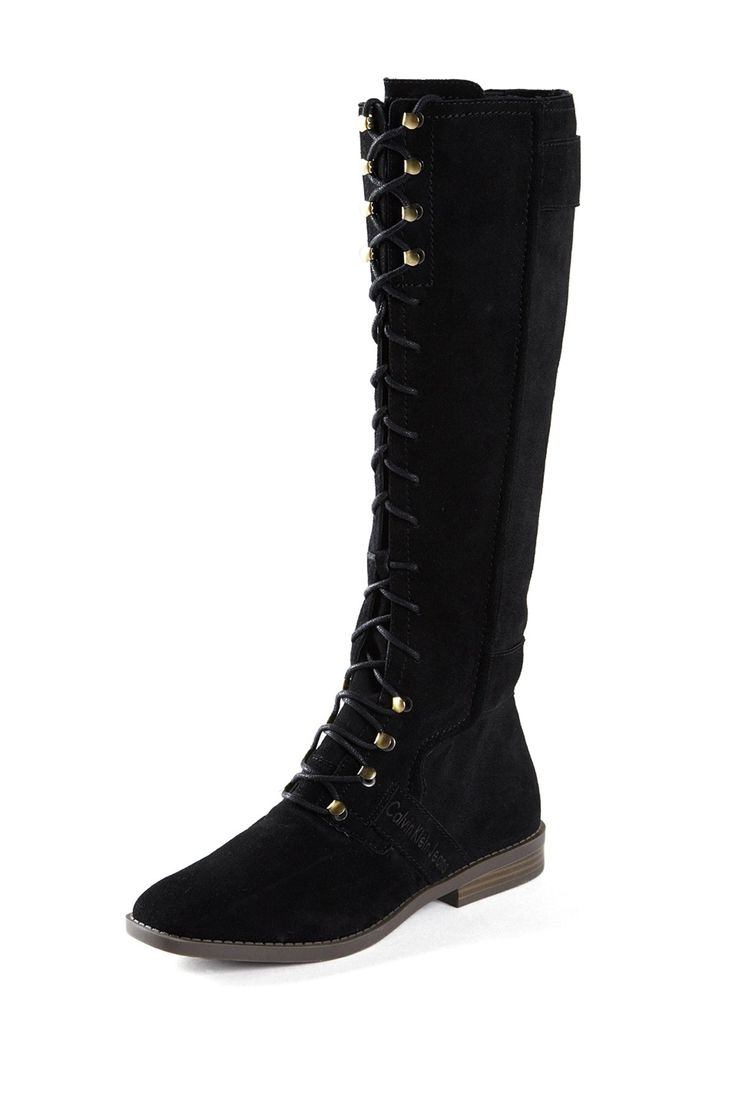 Minnetonka suede leather knee high tall lace up moccasin fringe boots - Calvin Klein Claudia Lace Up Boot 3