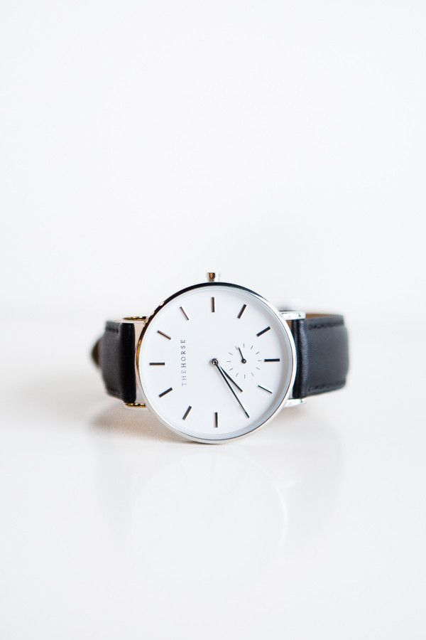 The Horse | Classic Black and White Leather Watch  Capsule wardrobe | Slow fashion | Simple style | Less is more | Minimalist watches | Minimalist wristwatches