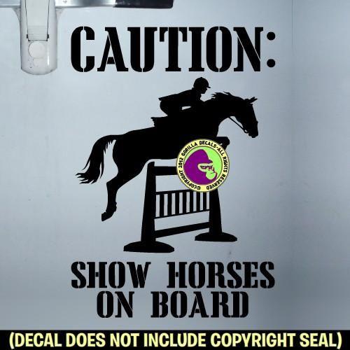 HUNTER JUMPER SHOW HORSES ON BOARD Trailer Vinyl Decal Sticker