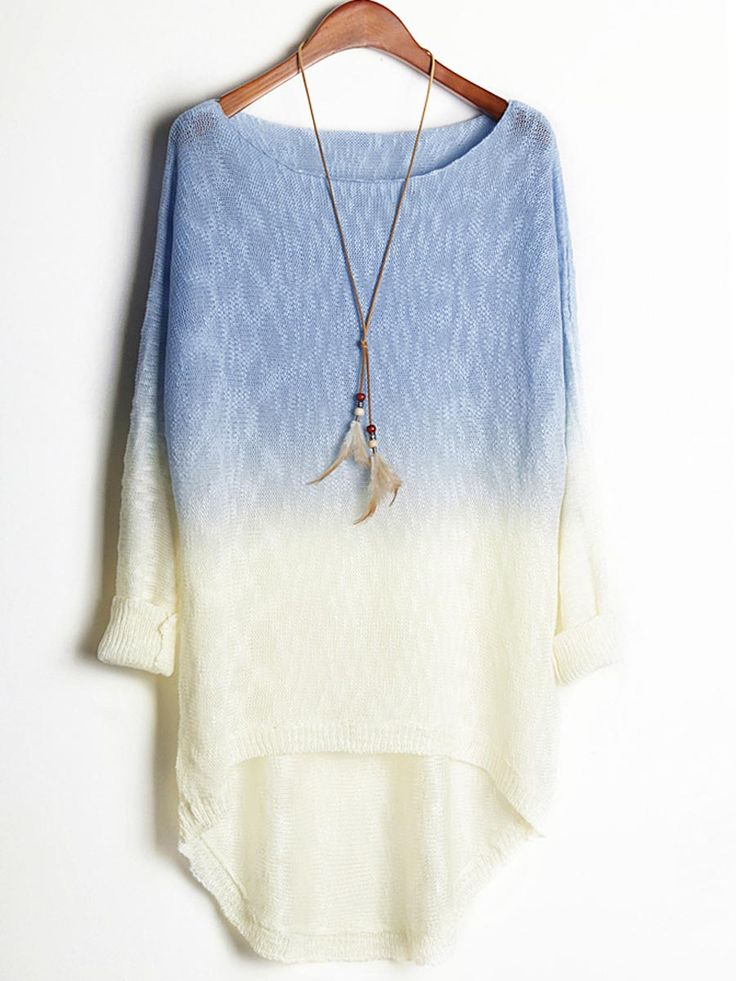 Blue White Contrast Loose Bat Dovetail Sweater